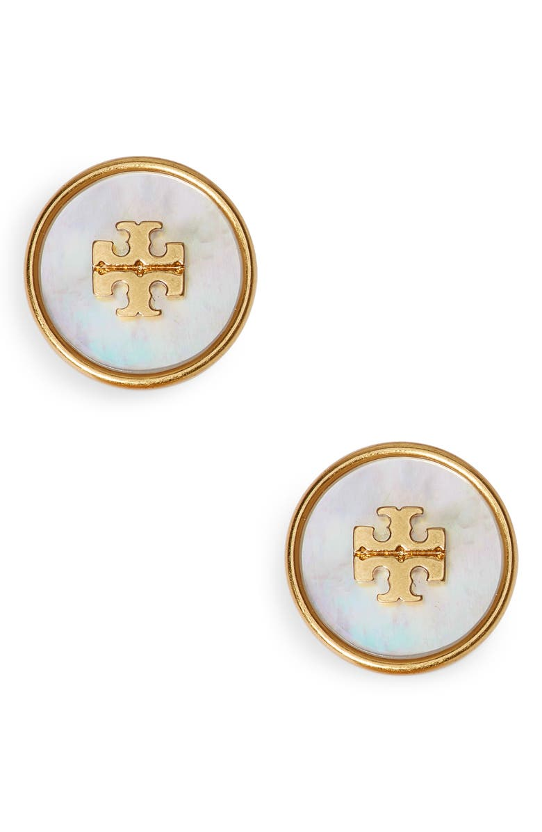 TORY BURCH Kira Semiprecious Stone Stud Earrings, Main, color, ROLLED BRASS / MOTHER OF PEARL