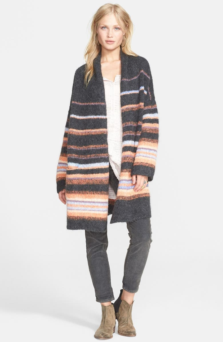 FREE PEOPLE Stripe Alpaca Blend Coat, Main, color, 020