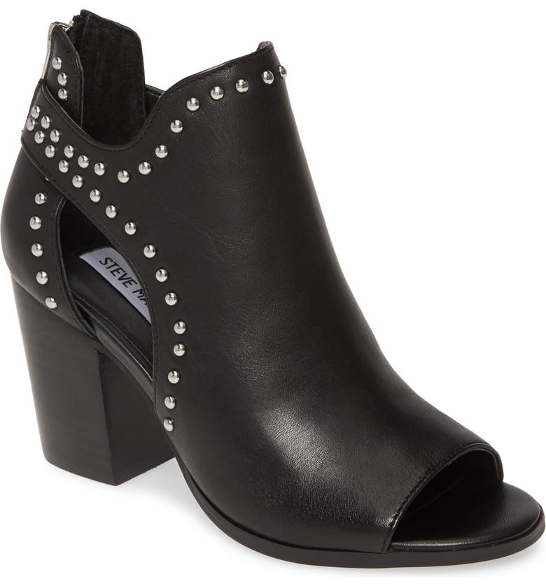 STEVE MADDEN Moxie Open Toe Bootie, Main, color, BLACK LEATHER