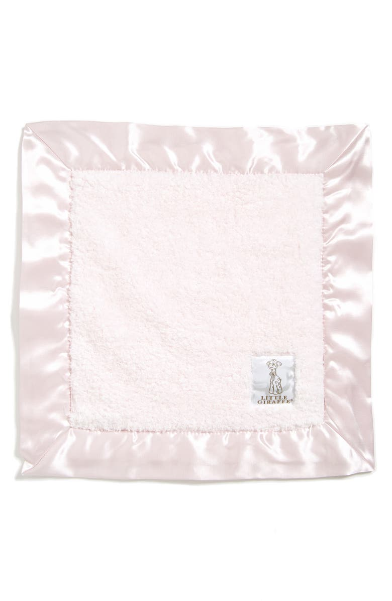 LITTLE GIRAFFE Satin Trim Chenille Blanket, Main, color, LIGHT PINK
