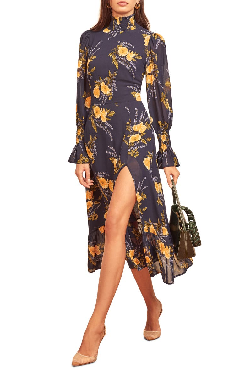 REFORMATION Galena Long Sleeve Midi Dress, Main, color, PETIT JARDIN