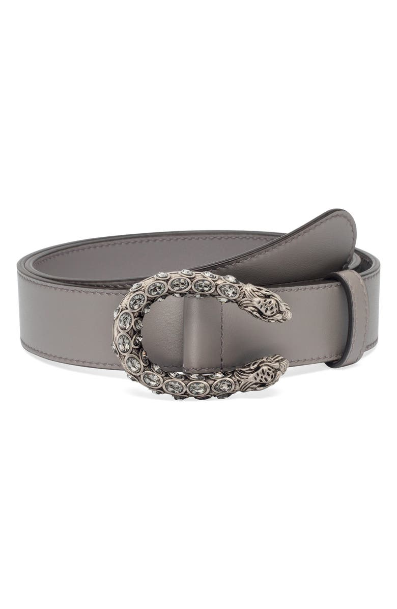 GUCCI Crystal Leather Belt, Main, color, 020