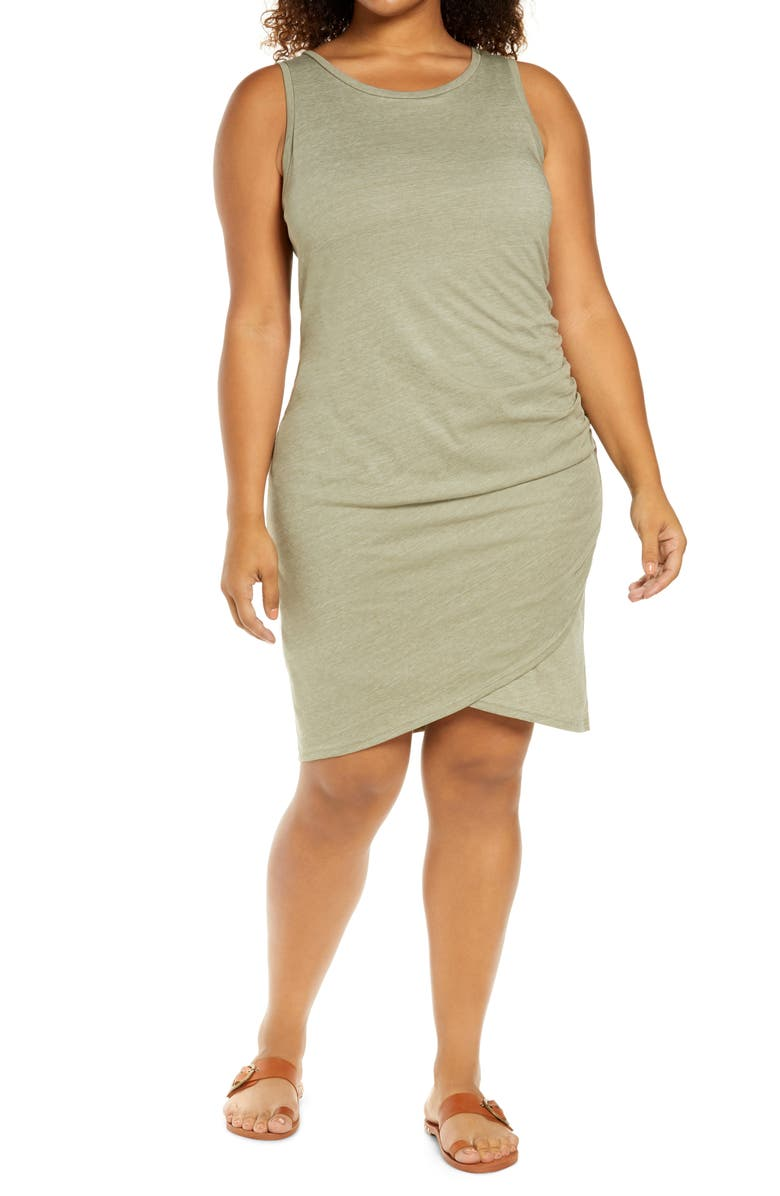 TREASURE & BOND Ruched Sleeveless Jersey Dress, Main, color, GREEN VETIVER HEATHER