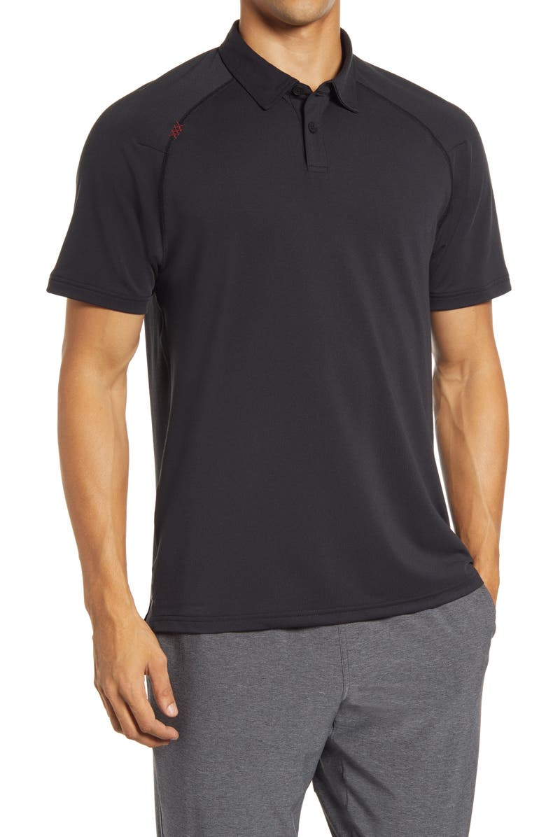 RHONE Delta Raglan Piqué Polo, Main, color, BLACK