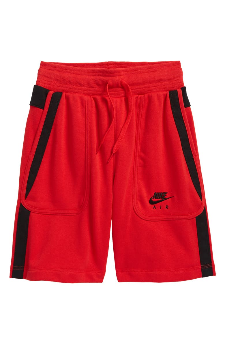 NIKE Air Kids' French Terry Shorts, Main, color, UNIVERSITY RED/BLACK/BLACK