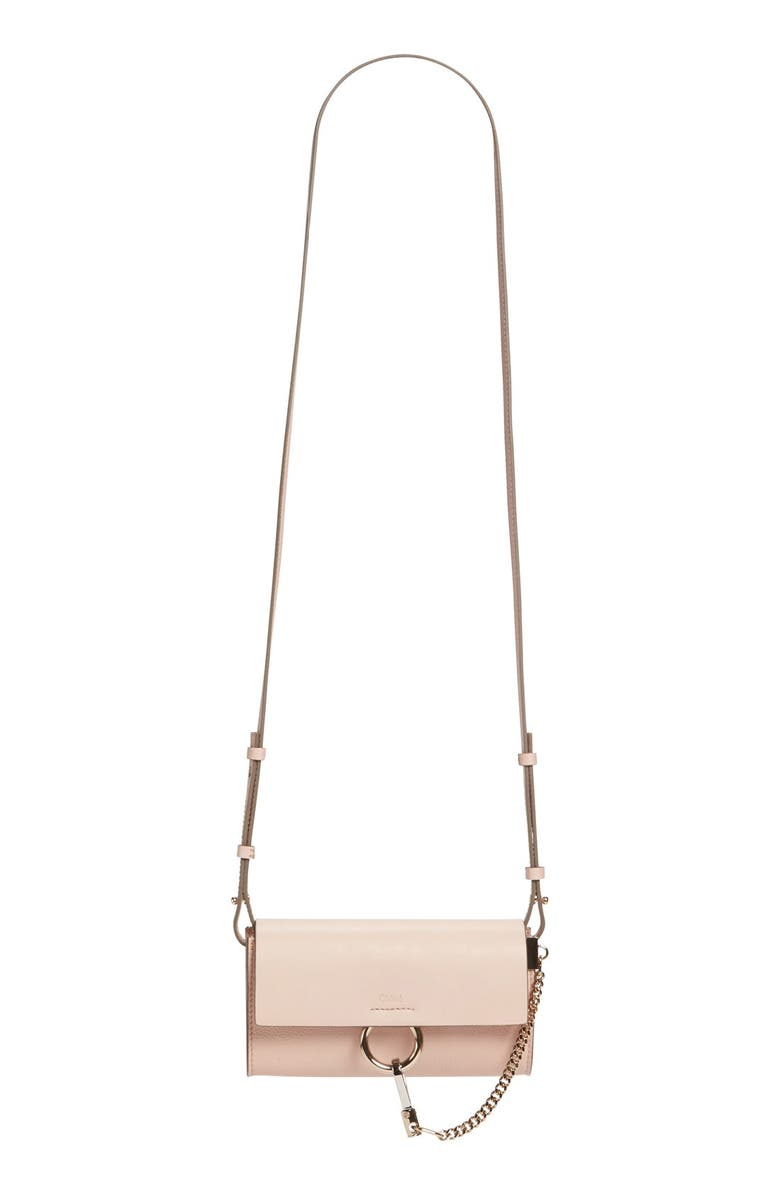 CHLOÉ Faye Leather Wallet on a Strap, Main, color, 661