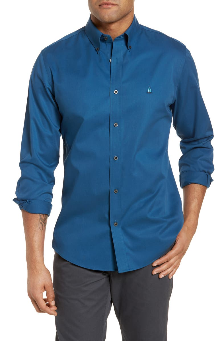 NORDSTROM Mens Shop Smartcare<sup>™</sup> Traditional Fit Twill Boat Shirt, Main, color, 401