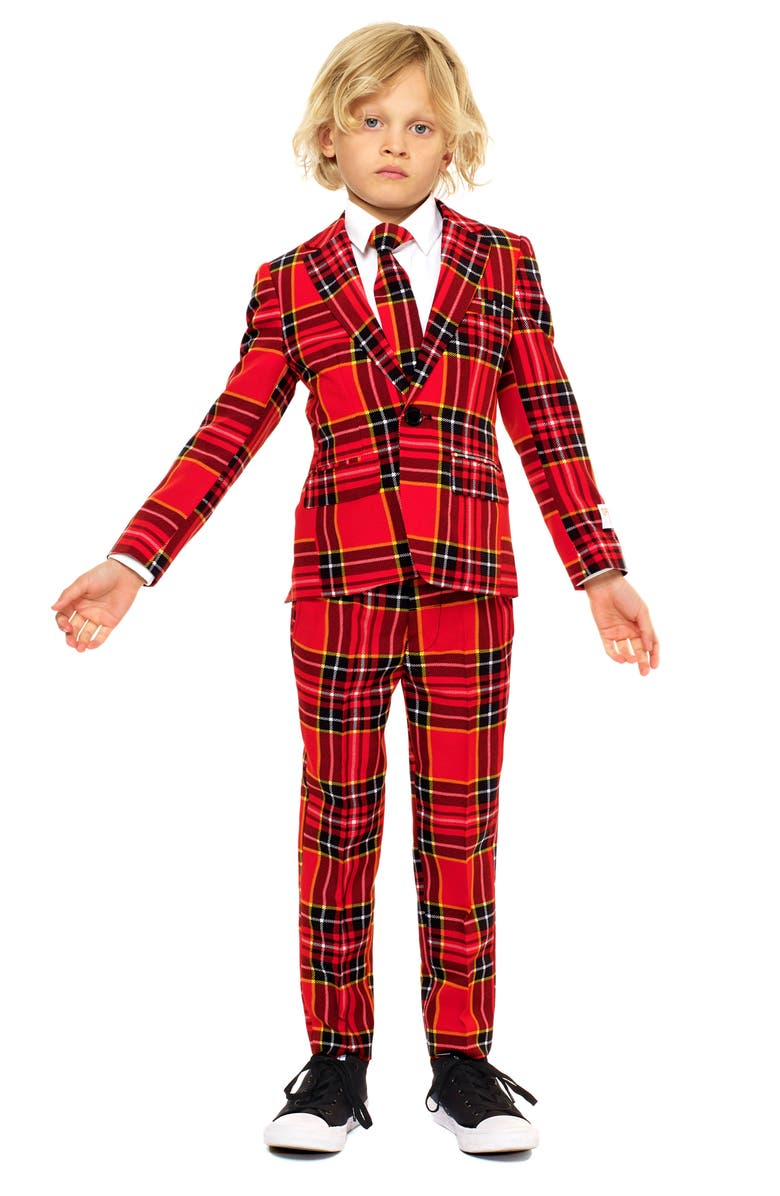 OPPOSUITS Lumberjack Two-Piece Suit with Tie, Main, color, RED