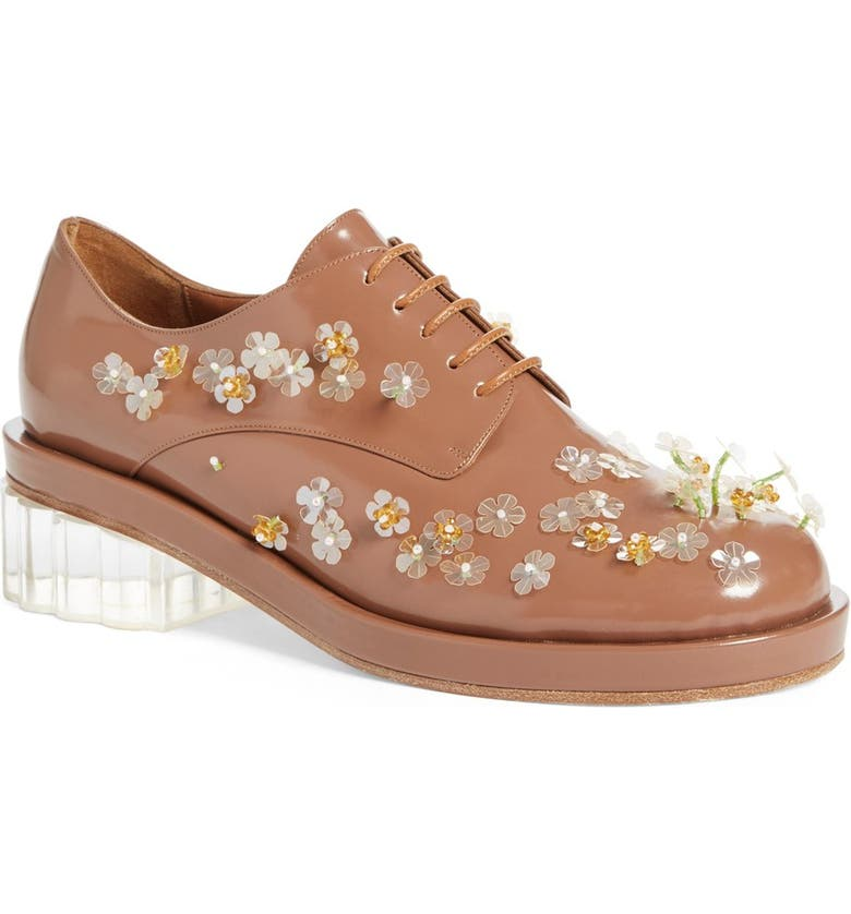 SIMONE ROCHA Embellished Lace-Up Oxford, Main, color, TOBACCO