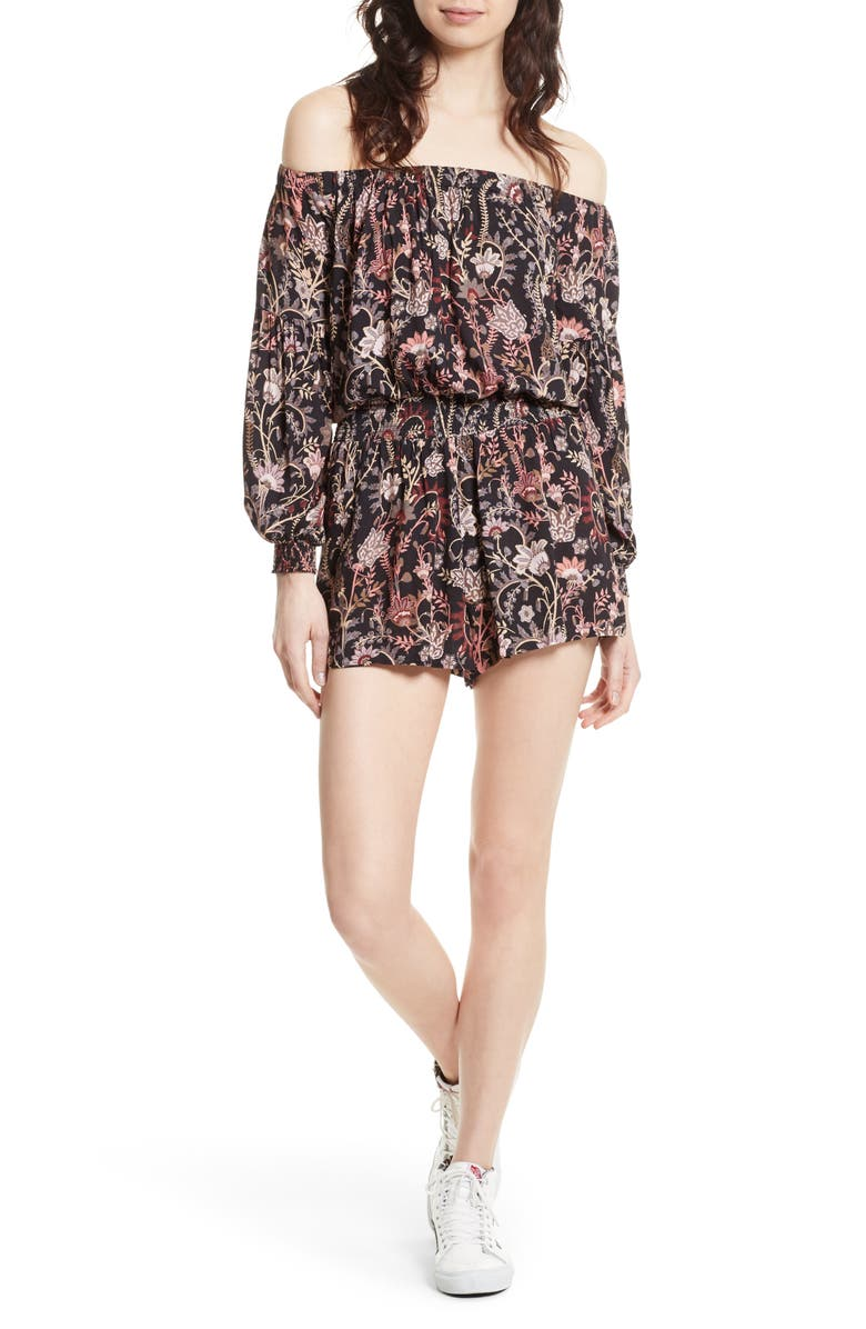 FREE PEOPLE Pretty & Free Off the Shoulder Romper, Main, color, BLACK