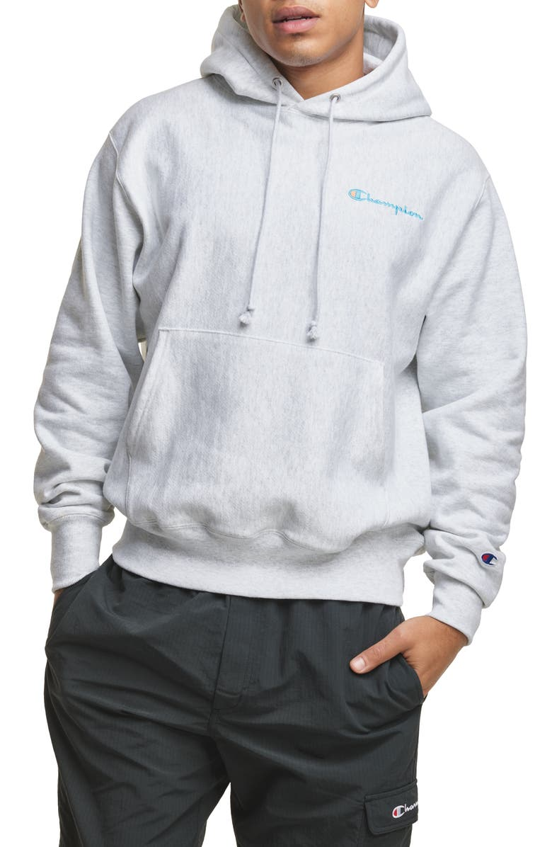 CHAMPION Reverse Weave<sup>®</sup> Script Chest Logo Hoodie, Main, color, SILVER GREY