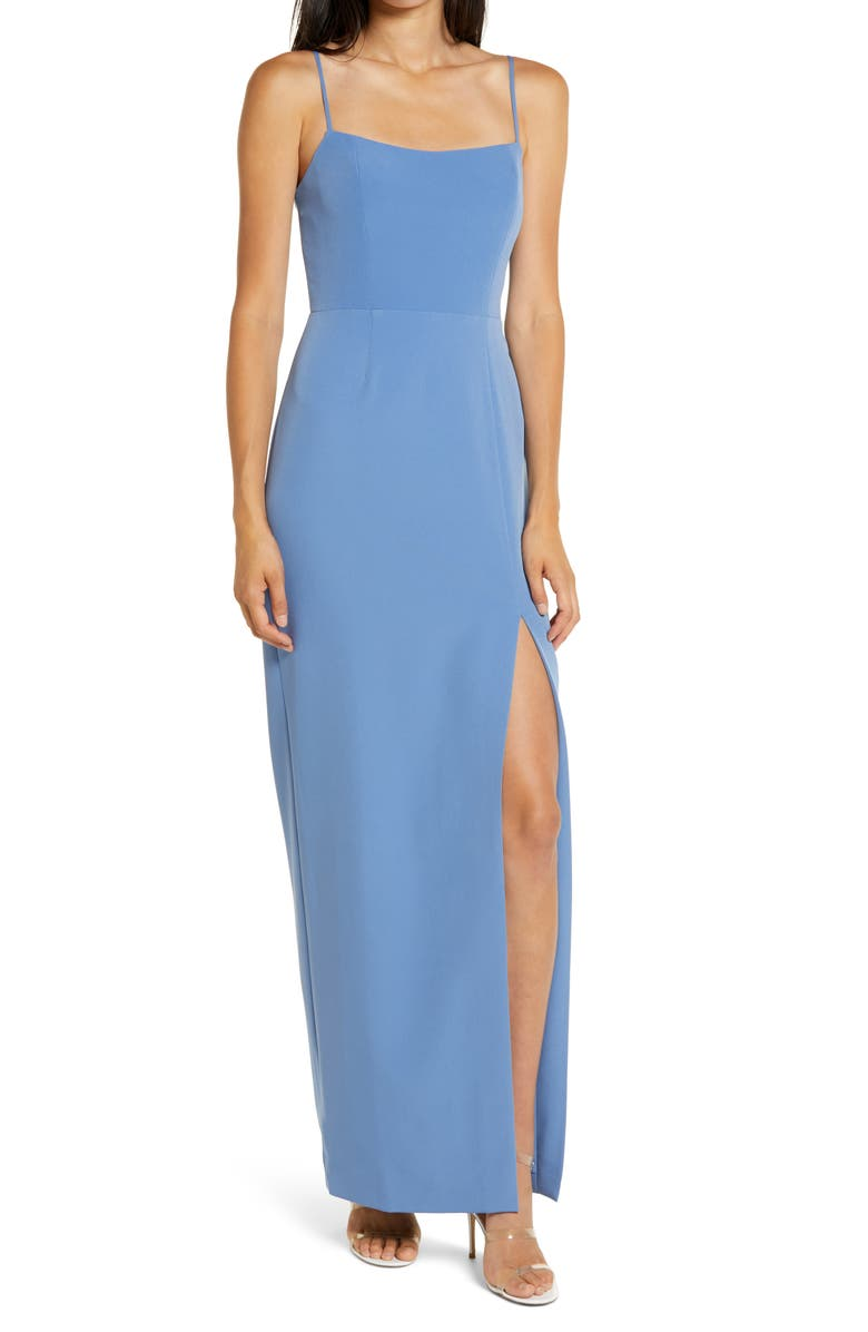 WAYF The Lettie Column Gown, Main, color, EVENING BLUE