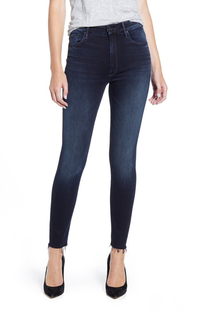 MOTHER The Looker High Waist Frayed Ankle Skinny Jeans, Main, color, 401