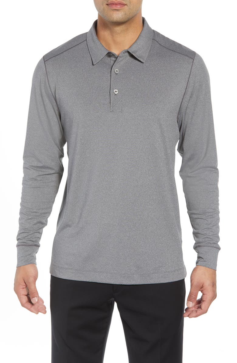 CUTTER & BUCK Matthew DryTec Long Sleeve Polo, Main, color, ELEMENTAL GREY HEATHER
