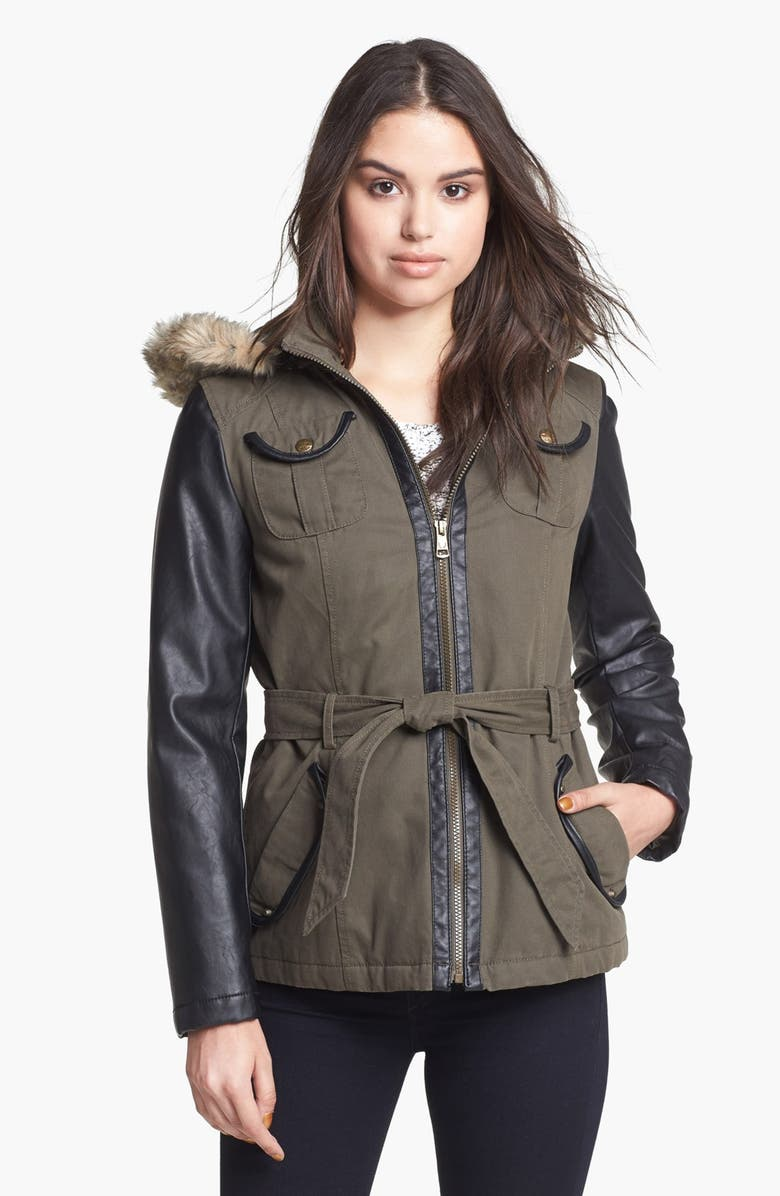 BUFFALO BY DAVID BITTON Faux Leather Sleeve Twill Jacket, Main, color, 361