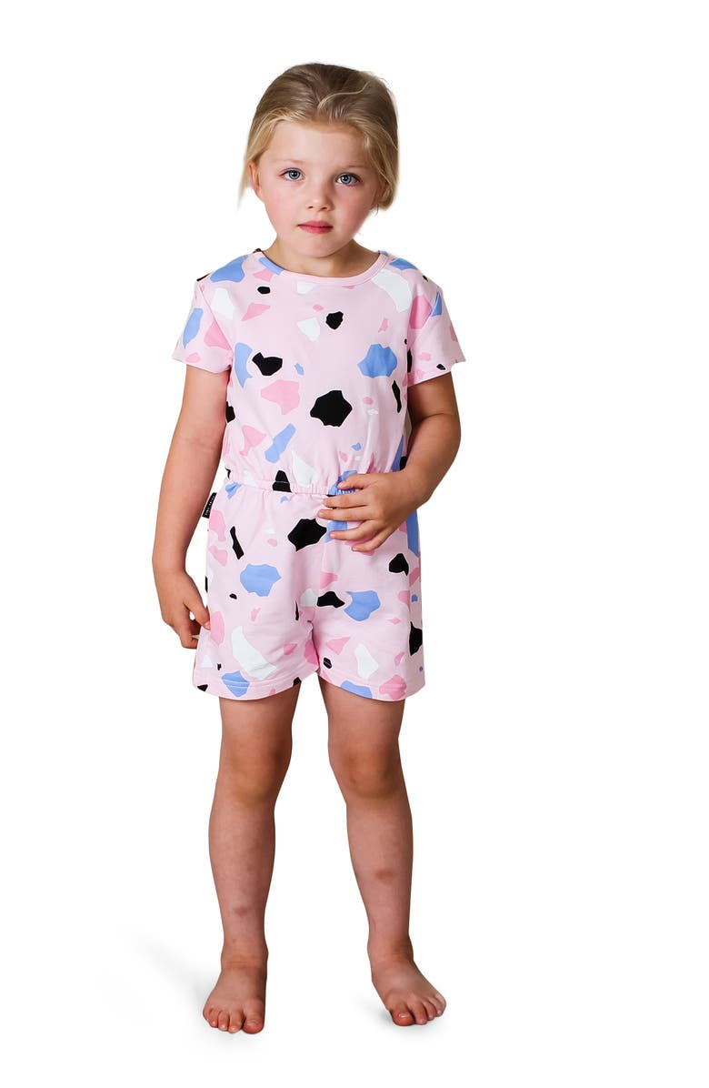TINY TRIBE Kids' Terrazzo Ivy Romper, Main, color, PINK