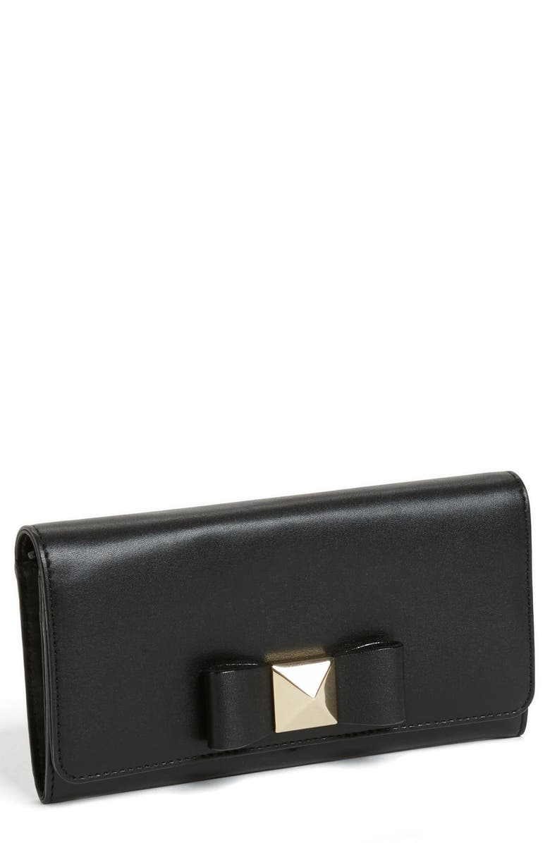 KATE SPADE NEW YORK 'bow terrace - cindy' continental wallet, Main, color, 001