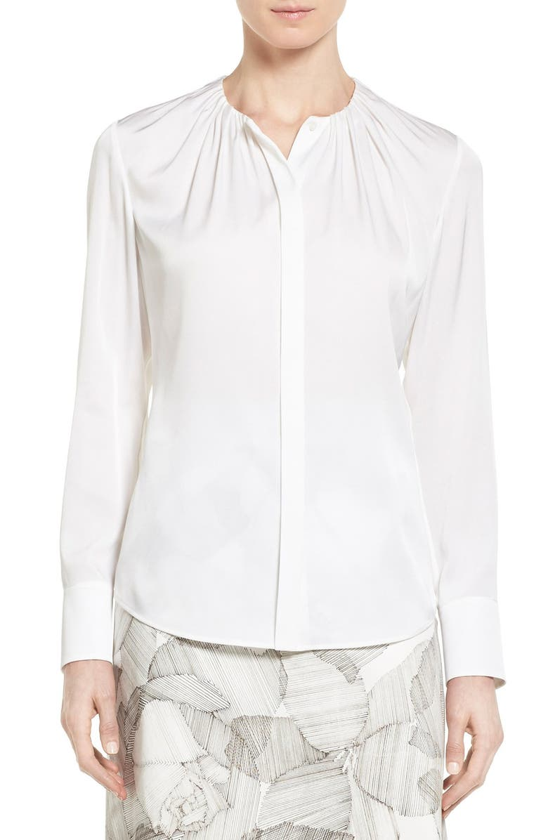 BOSS 'Banora' Ruched Neck Stretch Silk Blouse, Main, color, 900