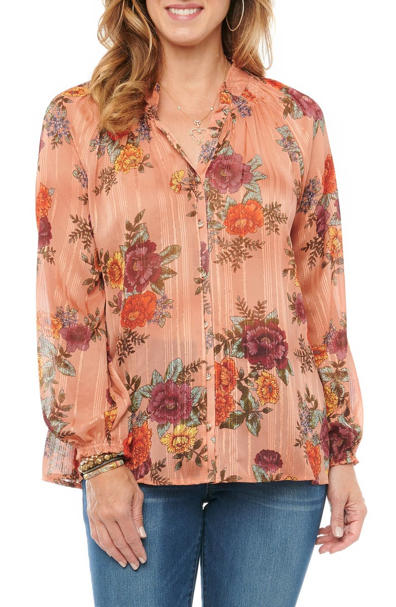 WIT & WISDOM Floral Button-Up Chiffon Top, Main, color, CLAY MULTI