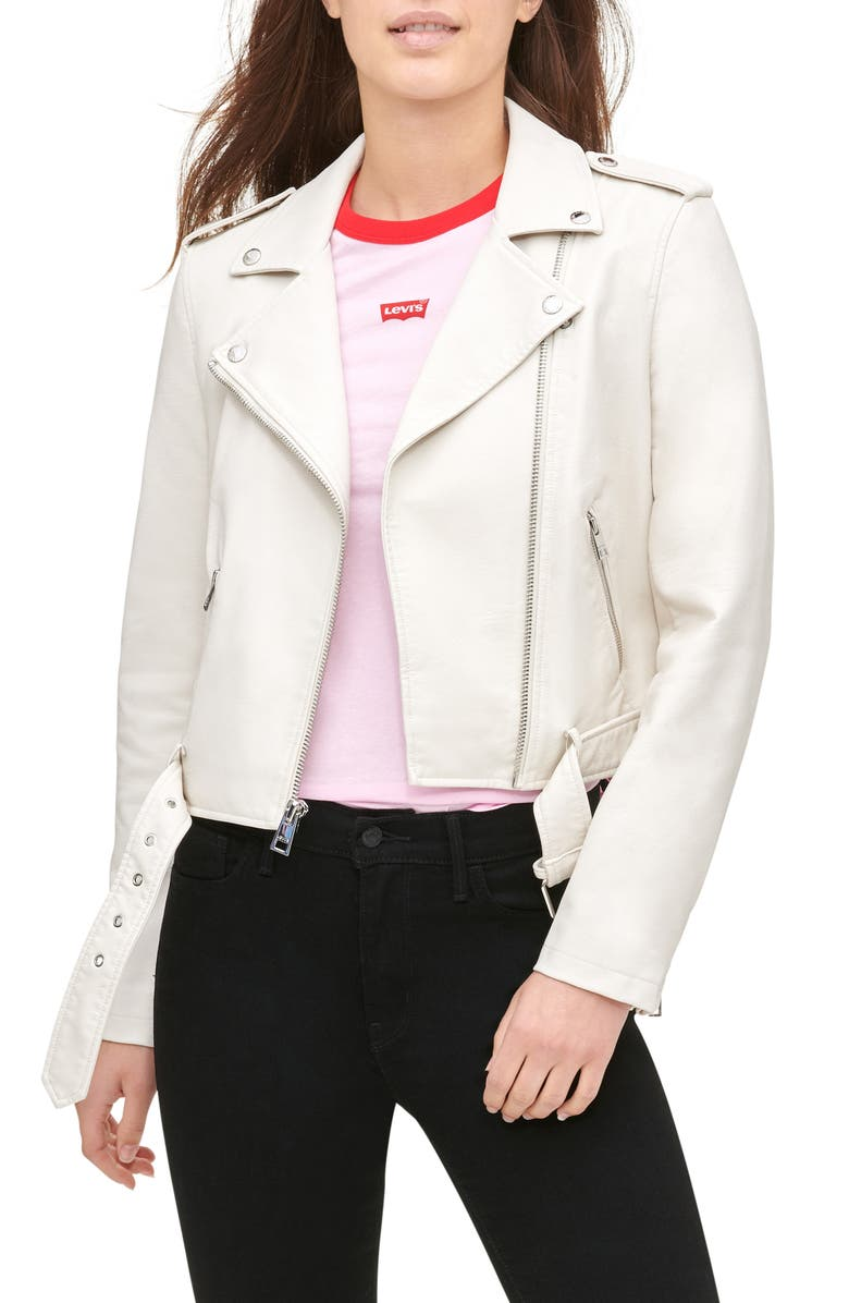 LEVI'S<SUP>®</SUP> Faux Leather Fashion Belted Moto Jacket, Main, color, OYSTER