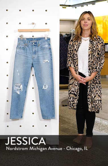 501<sup>®</sup> Ripped High Waist Crop Jeans, sales video thumbnail