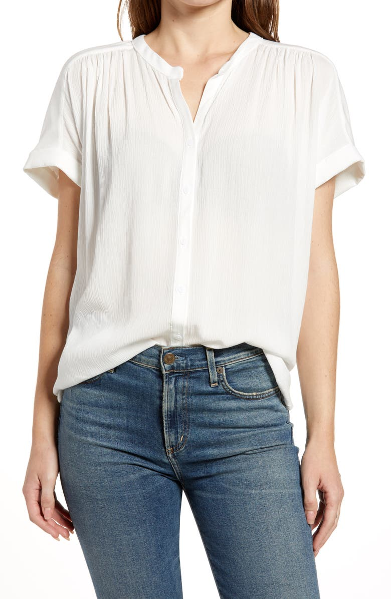 CASLON<SUP>®</SUP> Relaxed Button Front Top, Main, color, IVORY CLOUD