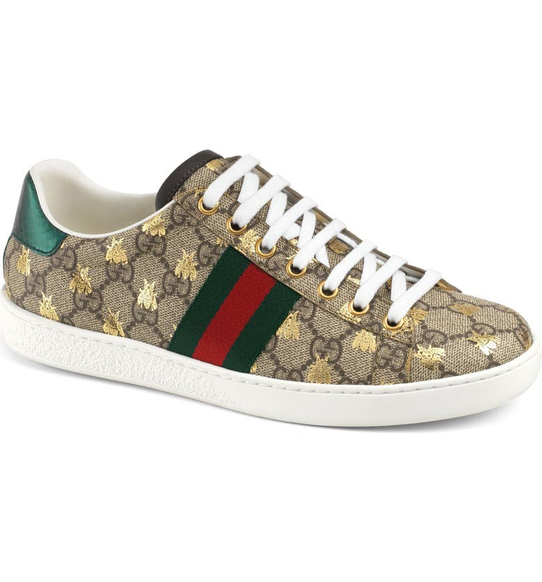 GUCCI New Ace Bee GG Supreme Sneaker, Main, color, BEIGE/ GOLD / GOLD