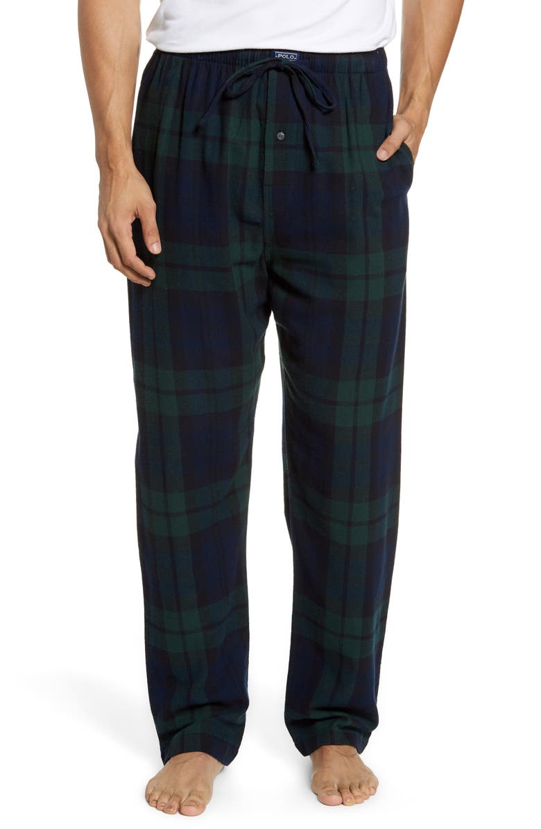 POLO RALPH LAUREN Plaid Flannel Pajama Pants, Main, color, 009