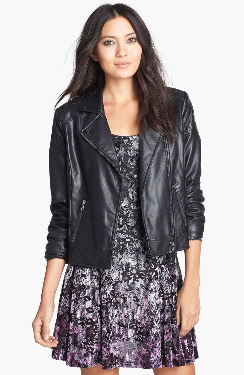 MURAL Quilted Shoulder Faux Leather Moto Jacket, Main, color, 001
