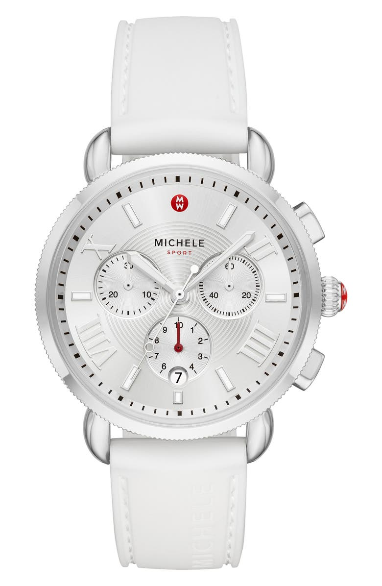 MICHELE Sport Chronograph Watch Head with Silicone Strap, 38mm, Main, color, WHITE/SILVER WHITE SUNRAY