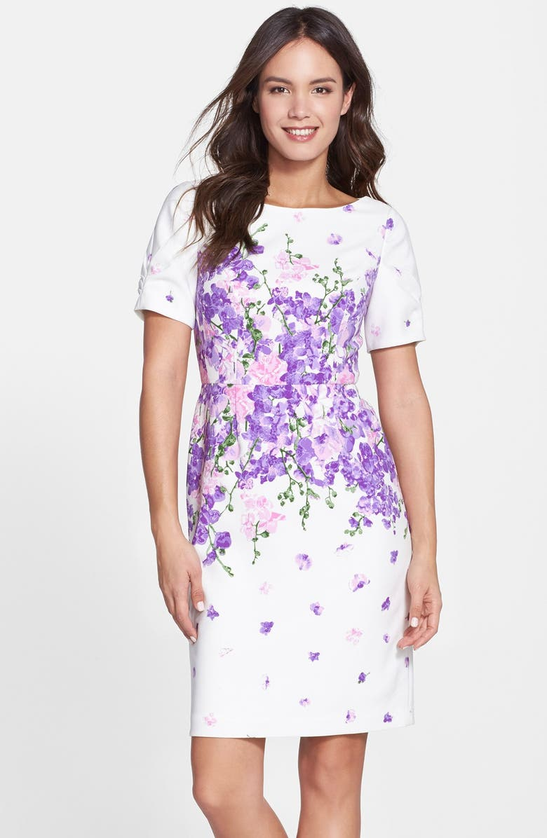 ADRIANNA PAPELL 'Garden Party' Floral Print Sheath Dress, Main, color, 126