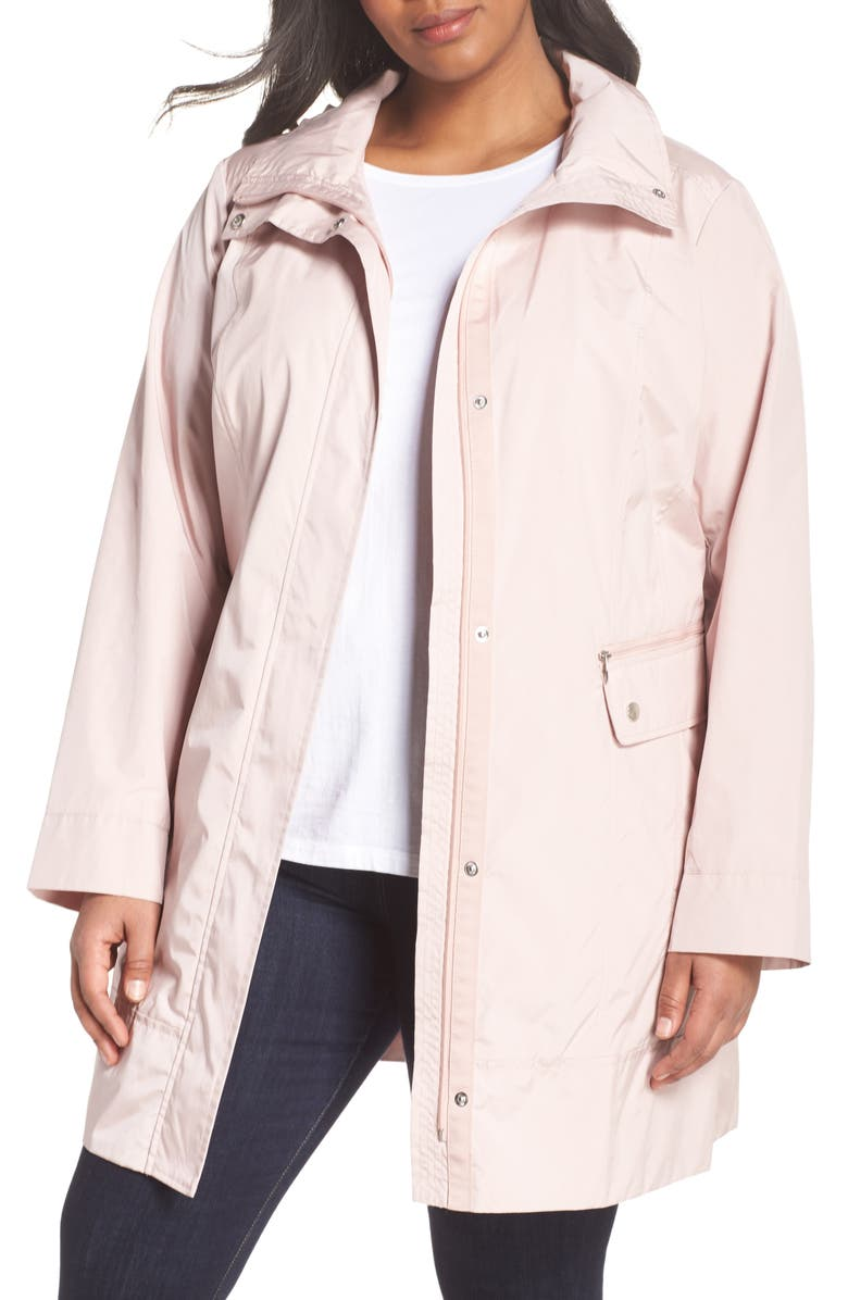 COLE HAAN SIGNATURE Cole Haan Water Resistant Rain Jacket, Main, color, CANYON ROSE