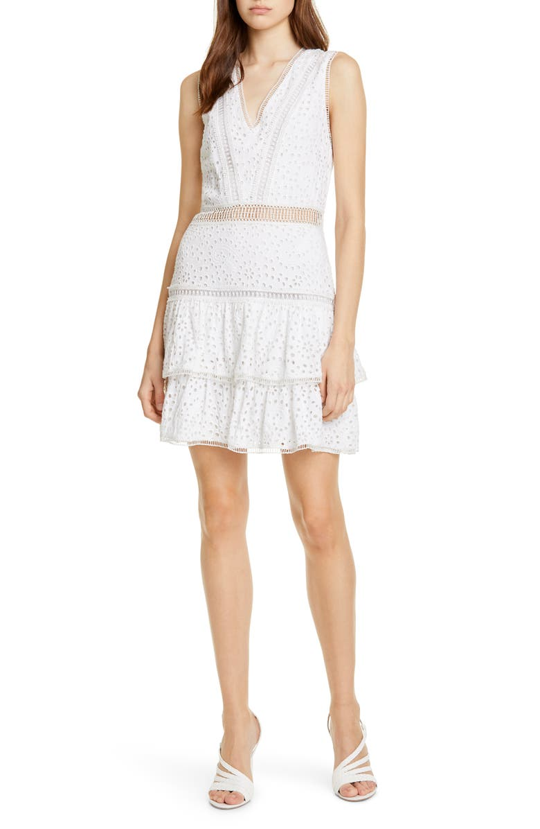 ALICE + OLIVIA Tonie Lace Trim Eyelet Dress, Main, color, 900