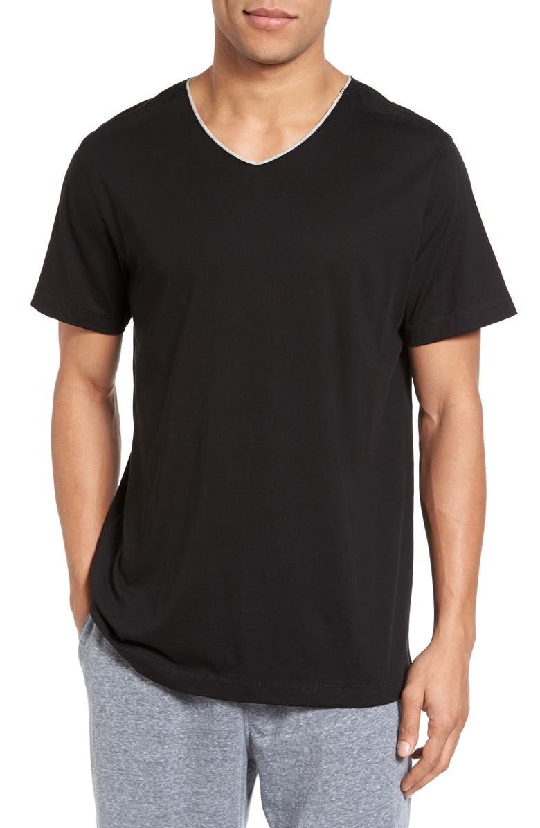 DANIEL BUCHLER Peruvian Pima Cotton V-Neck T-Shirt, Main, color, BLACK