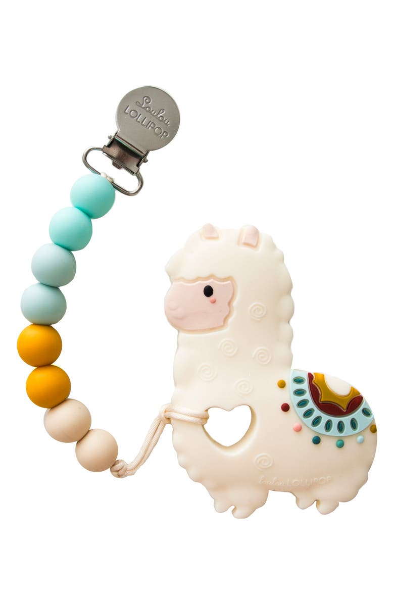 LOULOU LOLLIPOP Llama Teething Toy & Holder, Main, color, 111