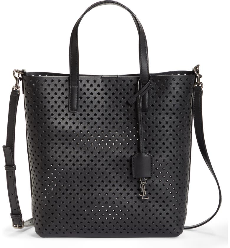 SAINT LAURENT Toy North/South Star Perforated Leather Tote, Main, color, 001