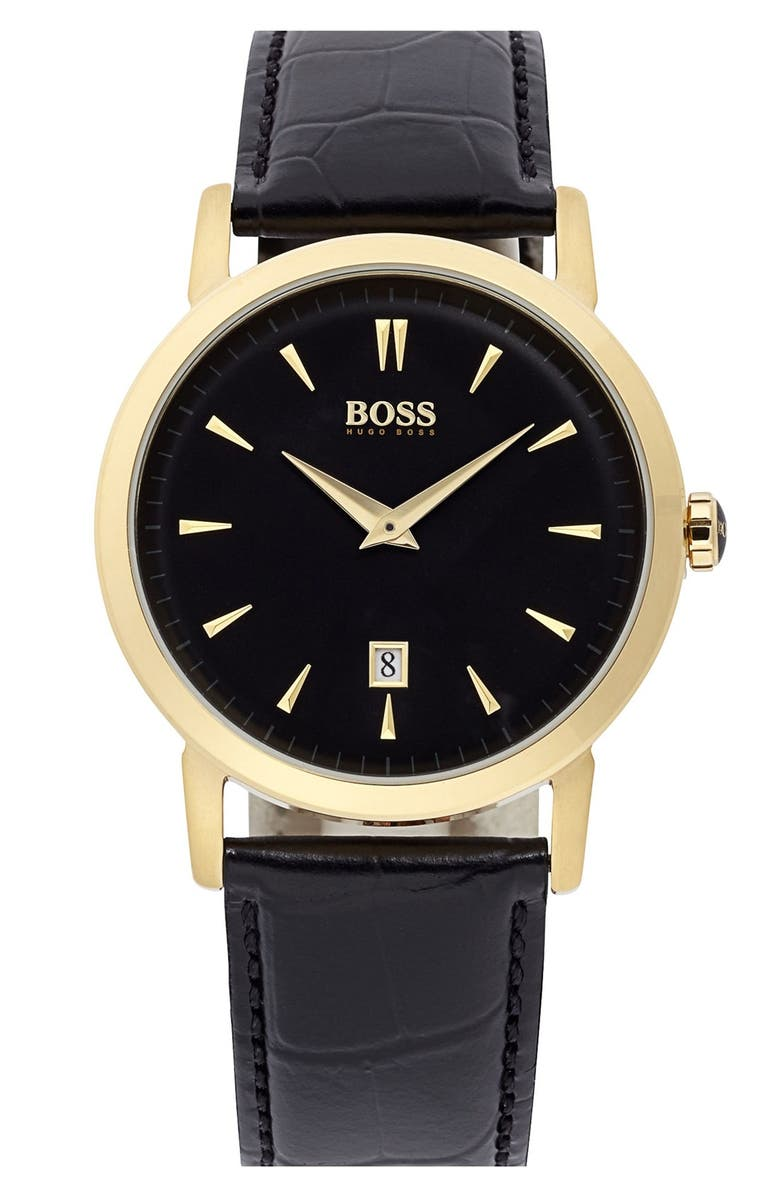 BOSS HUGO BOSS Round Leather Strap Watch, 40mm, Main, color, 001
