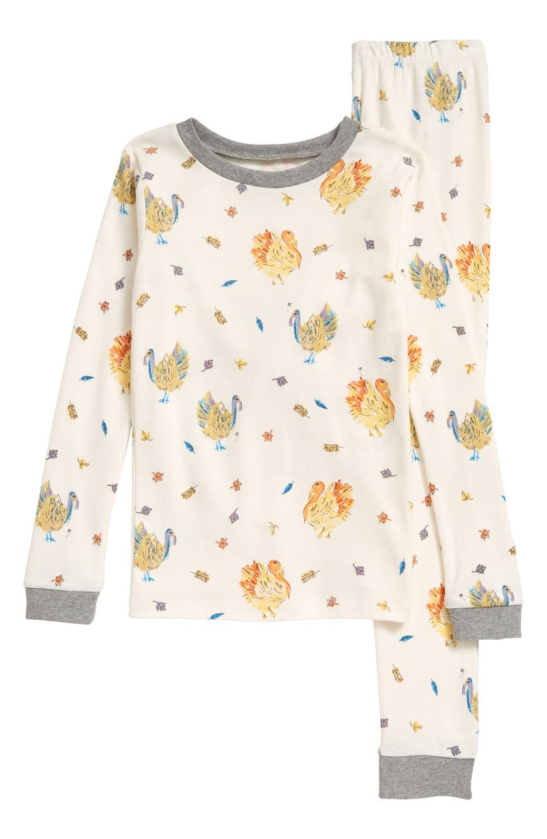 BURT'S BEES Kids' Turkey Trot Organic Cotton Fitted Two-Piece Pajamas, Main, color, HEATHER GREY