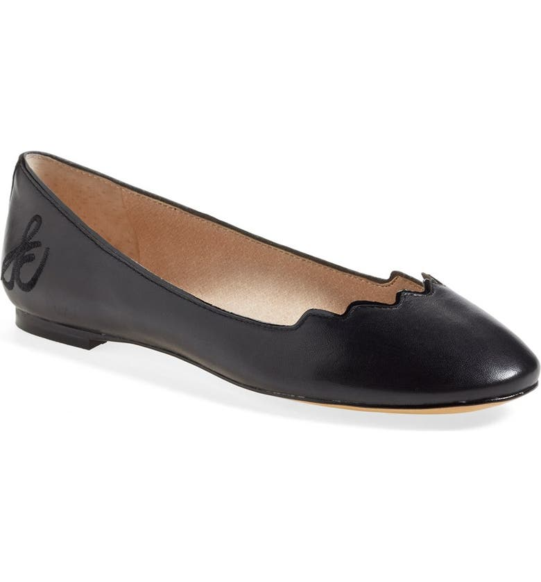 SAM EDELMAN 'Alaine' Scalloped Topline Flat, Main, color, 001