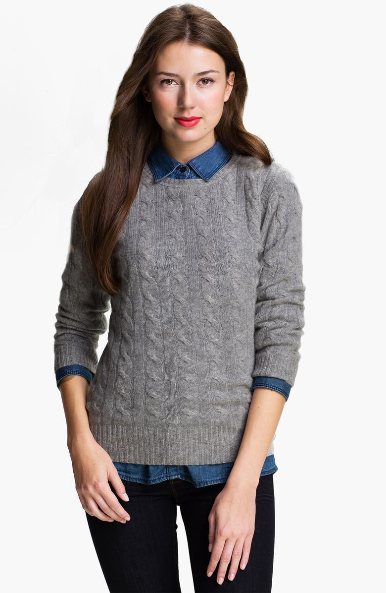 ONLY MINE Cable Cashmere Sweater, Main, color, LIGHT HEATHER GREY