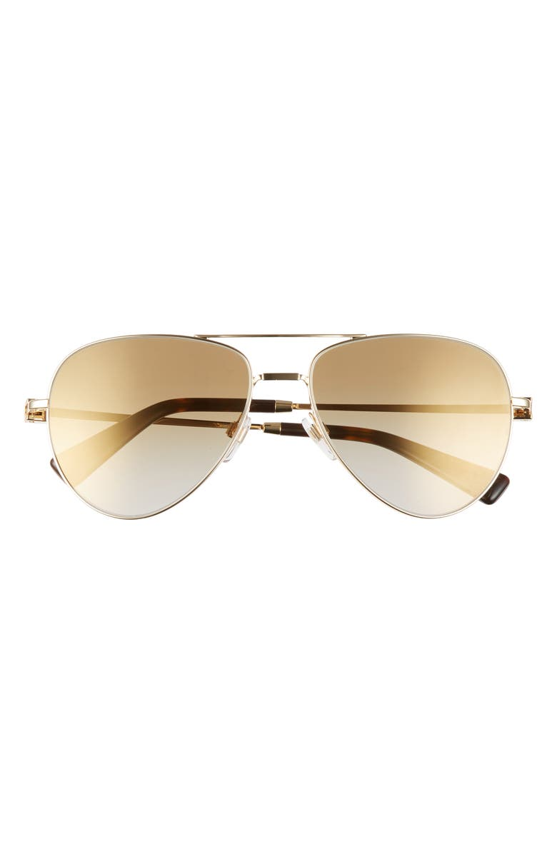 VALENTINO 57mm Polarized Aviator Sunglasses, Main, color, GOLD/ BROWN GOLD GRAD MIRR
