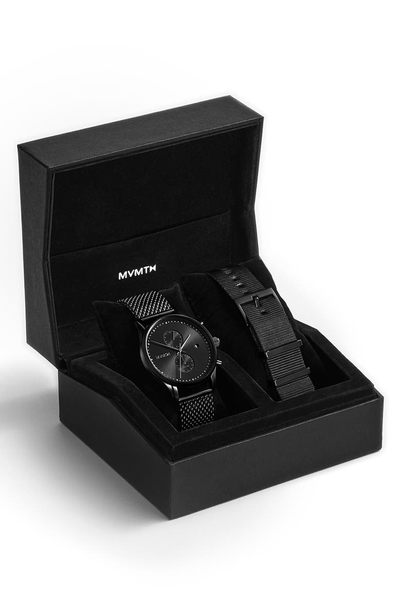 MVMT Voyager Mesh Strap Watch & Leather Strap, 42mm, Main, color, 001