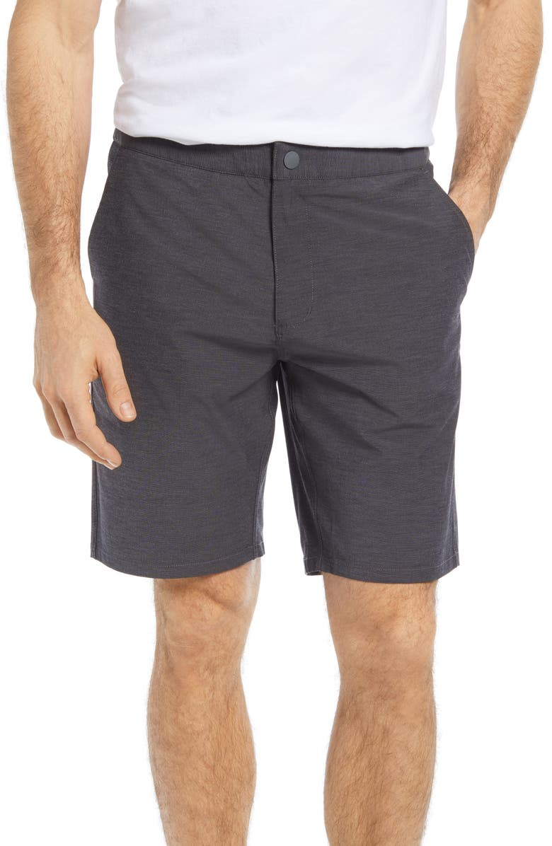 JOHNNIE-O Dawn 2 Dusk Hybrid Shorts, Main, color, BLACK