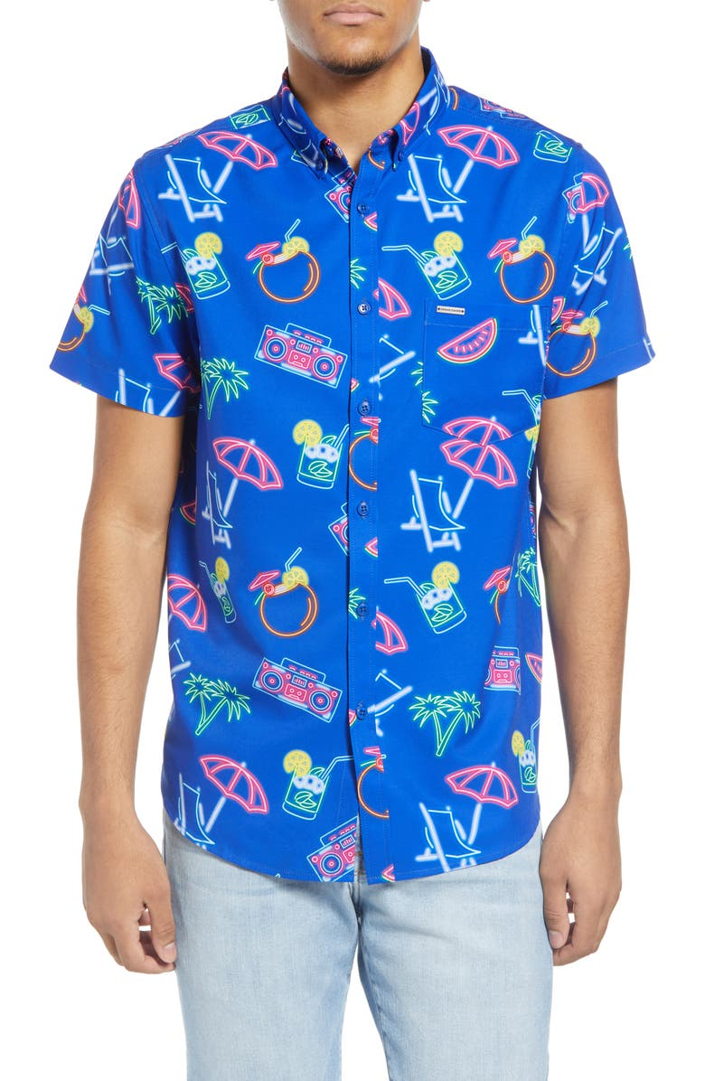 VINTAGE SUMMER Neon Water Repellent Short Sleeve Button-Down Shirt, Main, color, 430