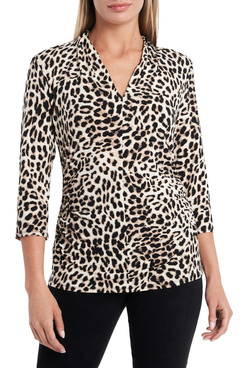 VINCE CAMUTO Perfect Leopard Print Ruched Top, Main, color, 001