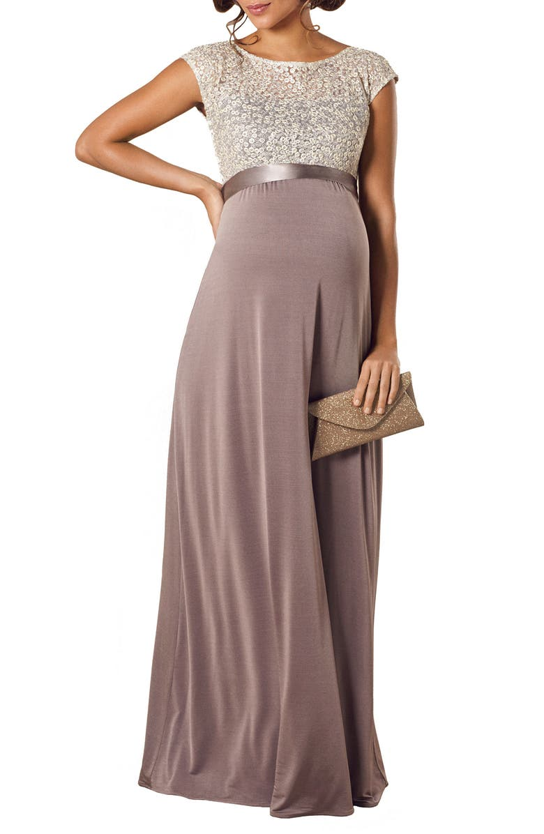 TIFFANY ROSE Mia Lace & Jersey Maternity Gown, Main, color, DUSKY TRUFFLE