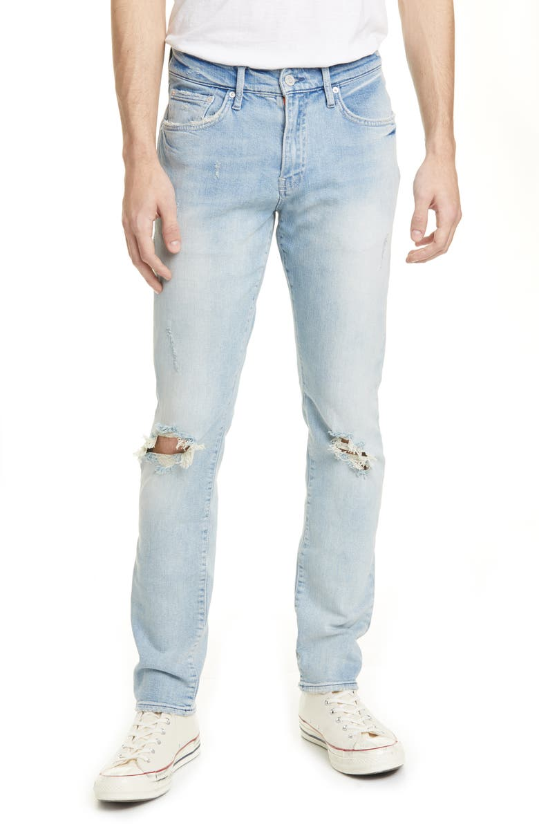 OVADIA Ripped Slim Sky Torn Jeans, Main, color, 475