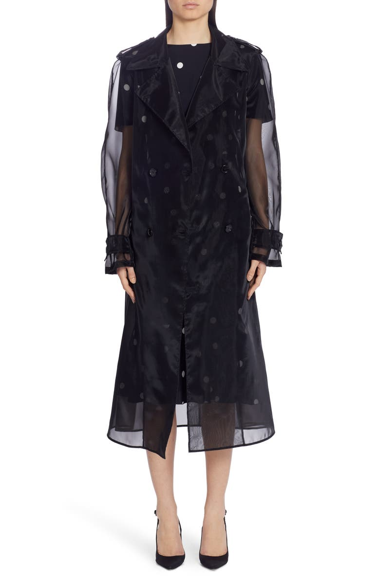 DOLCE&GABBANA Sheer Organza Trench Coat, Main, color, 001