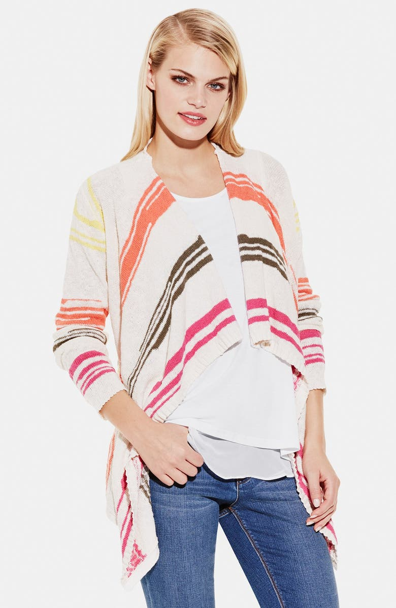 TWO BY VINCE CAMUTO Stripe Drape Front Cardigan, Main, color, CHALK