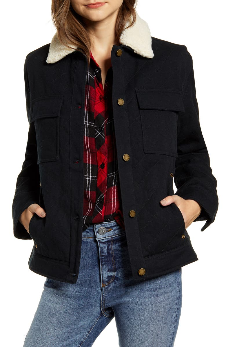 PENDLETON Sidney Barn Coat with Faux Shearling Collar, Main, color, 001